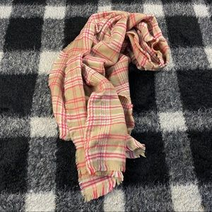Cream and pink plaid oversized blanket scarf